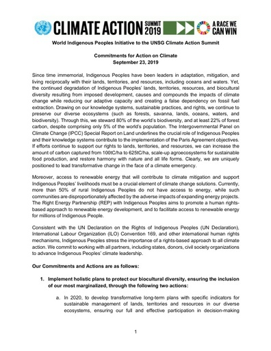 World Indigenous Peoples Initiative to the UNSG Climate Action Summit | Commitments for Action on Climate